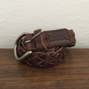 """Aeropostale Brown Leather Woven Braided Belt 44"""""""